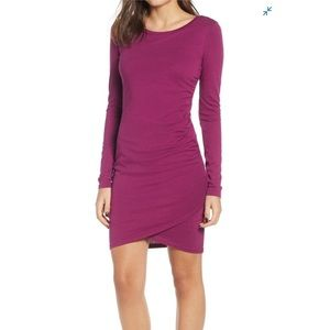LEITH fitted asymmetric ruched dress NWT